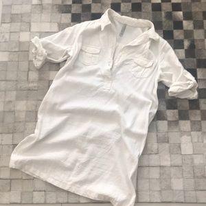 White linen shirt dress